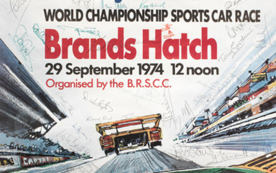 A 1974 Brands Hatch 1000Kms race poster, signed by competing drivers,