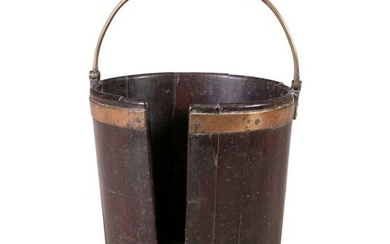AN IRISH GEORGE III MAHOGANY PLATE BUCKET, of coop…