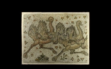Large Roman Mosaic Panel with Pair of Ostriches