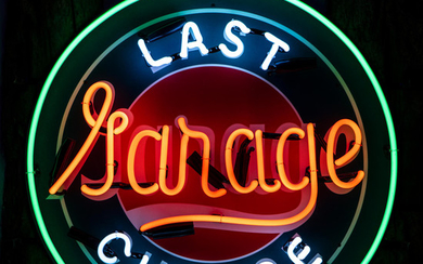 A 'Last Chance Garage' neon sign