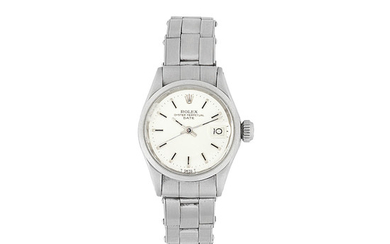 Rolex. A lady's stainless steel automatic calendar bracelet watch