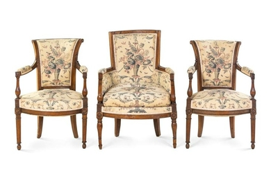 Three Directoire Fruitwood Chairs