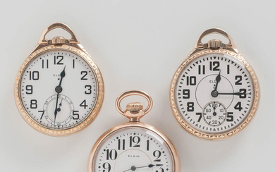 Three Elgin Watch Co. Open-face Watches