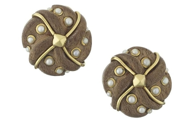 Pair of Trianon Hardwood and Mabe Pearl Ear Clips