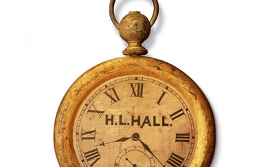 VERY FINE CARVED, TURNED, GILTWOOD AND PAINT-DECORATED WATCH TRADE SIGN, NEW ENGLAND, CIRCA 1880