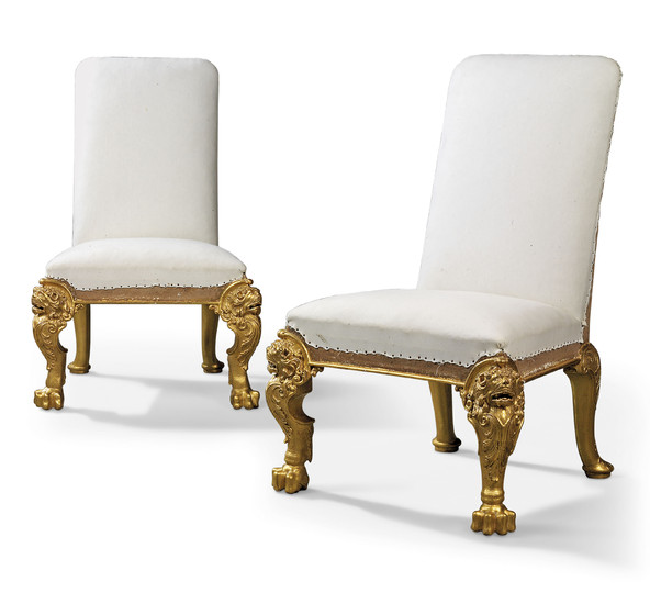 A PAIR OF GEORGE II GILT-GESSO SIDE CHAIRS, CIRCA 1730