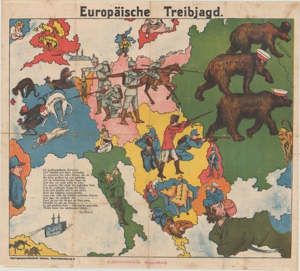 "Rare German Propaganda Map at Start of World War I, ""Europaische Treibjagd"""