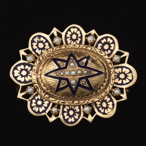 Victorian Style Gold, Pearl and Enamel Brooch