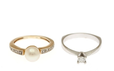 A pearl and diamond ring and a diamond solitaire ring, each mounted in 14k gold and white gold. (2)