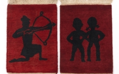 Two Hand-Knotted Mats, Gemini and Sagittarius Designs