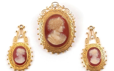 A Cameo and Pearl Brooch, measures 3.2cm by 4.4cm, and...