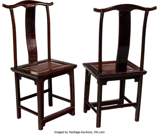 21291: A Pair of Chinese Elmwood Side Chairs, 19th cent