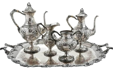 Four Piece Sterling Tea Service; Silver Tray
