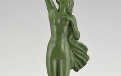 Fayral Pierre Le Faguays - Max Le Verrier - 'Message of love' - Art Deco sculpture of a naked woman with pigeon