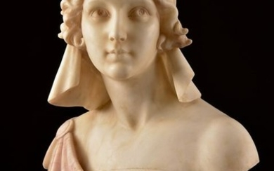 Adolfo Cipriani ( ca. 1880-1930) - Marble / alabaster bust of a young woman (1)