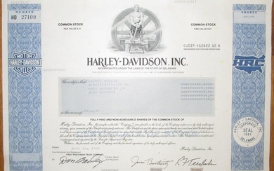 USA - Harley-Davidson Inc - Share Certificate 1991 - world-famous American motorcycle manufacturer