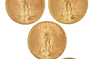 Five Saint Gaudens Gold Double Eagles