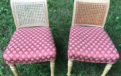Pair French Style Caned & Upholstered Side Chairs