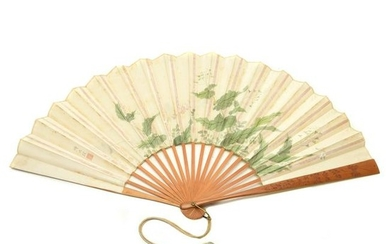 Chinese Silk Fan with Carved Bamboo Frame