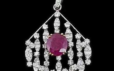 18KT WHITE GOLD DIAMOND AND RUBY PENDANT