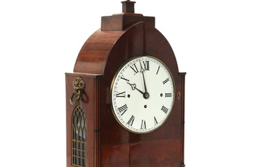 An English Regency musical mahogany case table clock in Gothic style. 'Westminster'. Ca. 1830. H. 62 cm. W. 32 cm. D. 17 cm.