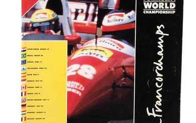 A 1993 Belgian Grand Prix race programme, signed by many competing drivers including Senna,