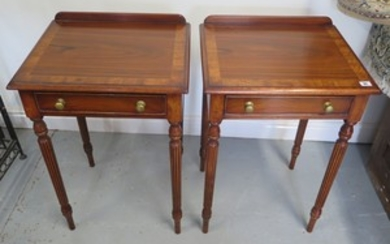 A pair of antique style rosewood lamp tables with a drawer o...
