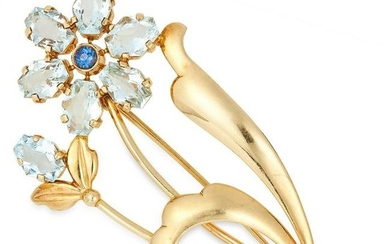 AQUAMARINE AND SAPPHIRE FLOWER BROOCH set with fancy