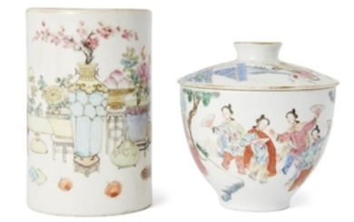 A Chinese porcelain famille rose bowl and...