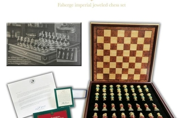 Faberge Imperial Jeweled Chess Set with COA