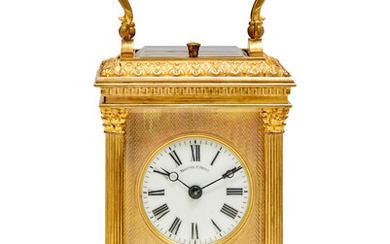 A gilt repeating carriage clock
