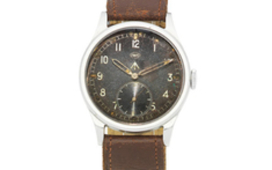 IWC. A stainless steel manual wind military issue wristwatch