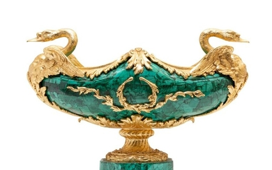 A large malachite veneered centerpiece