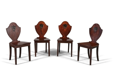 A SET OF FOUR GEORGE IV MAHOGANY HALL CHAIRS, c.18…