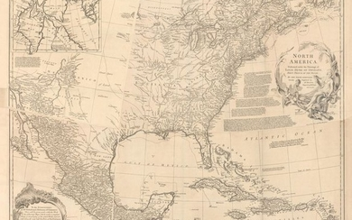 """""""[4 Sheets] North America. Performed Under the Patronage of Louis Duke of Orleans, First Prince of the Blood; by the Sieur d'Anville..."""", Bolton, Solomon"""