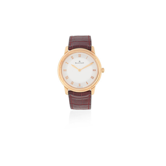 Blancpain. A limited edition 18K rose gold manual wind wristwatch