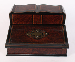 FRENCH WRITING BOX W/ SILVER CAPPED CRYSTAL INKWELLS