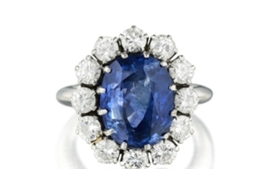 A Fine Sapphire and Diamond Ring