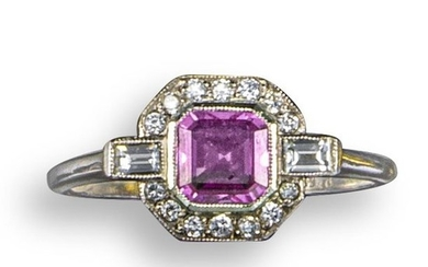 A pink sapphire and diamond ring, the square-shaped...