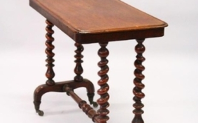 A VICTORIAN MAHOGANY STRETCHER TABLE, with barley twist