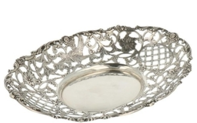 Puffs basket openwork model with cast-flower and bird decorations silver.