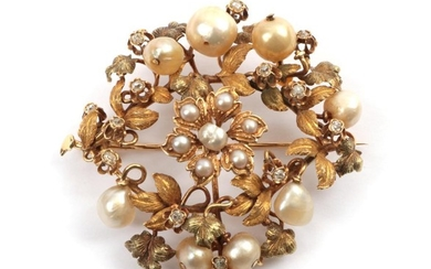 A Diamond and Pearl Floral Plaque Brooch, the various sized...