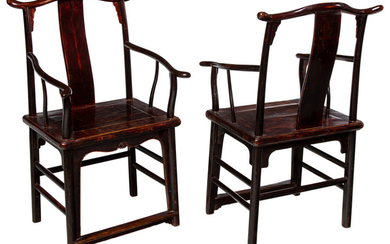 A Pair of Chinese Elmwood Arm Chairs (19th century)