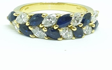 18 kt. Yellow gold - Ring - 0.90 ct Diamond - Sapphires