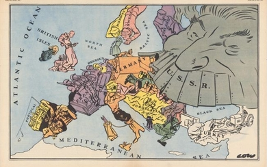 """""""[lot of 2 - Satirical Map of Europe with Article] """"Maps with a Moral"""""""""""
