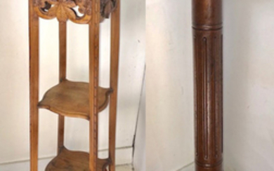 TWO MISCELLANEOUS WOODEN PEDESTALS