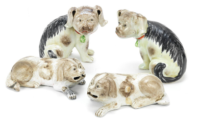 Two pairs of export porcelain models of hounds