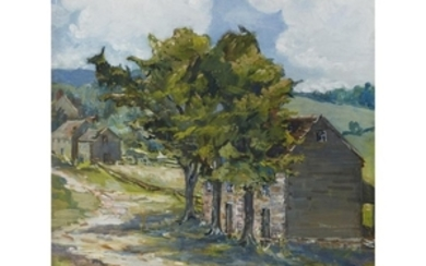 UKNOWN ARTIST (american, 20th century) LANDSCAPE WITH HOUSE AND...