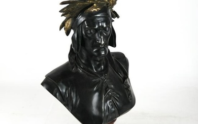 A. CARRIERE: Bronze Bust on Rouge Marble Pedestal