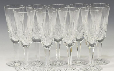 (9) WATERFORD 'LISMORE' CRYSTAL CHAMPAGNE FLUTES